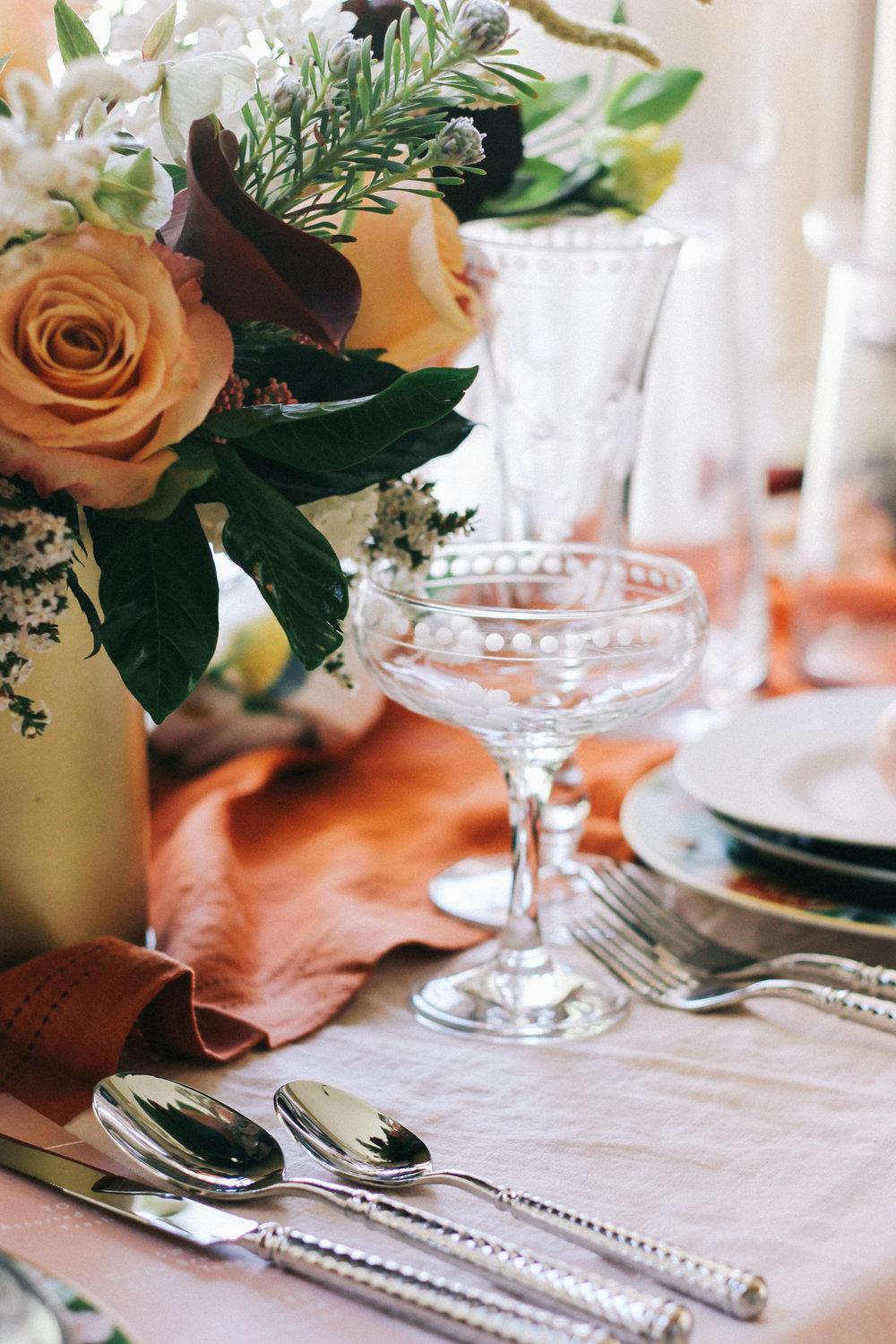 Etched champagne coupes, perfect for a spring brunch | A Fabulous Fete