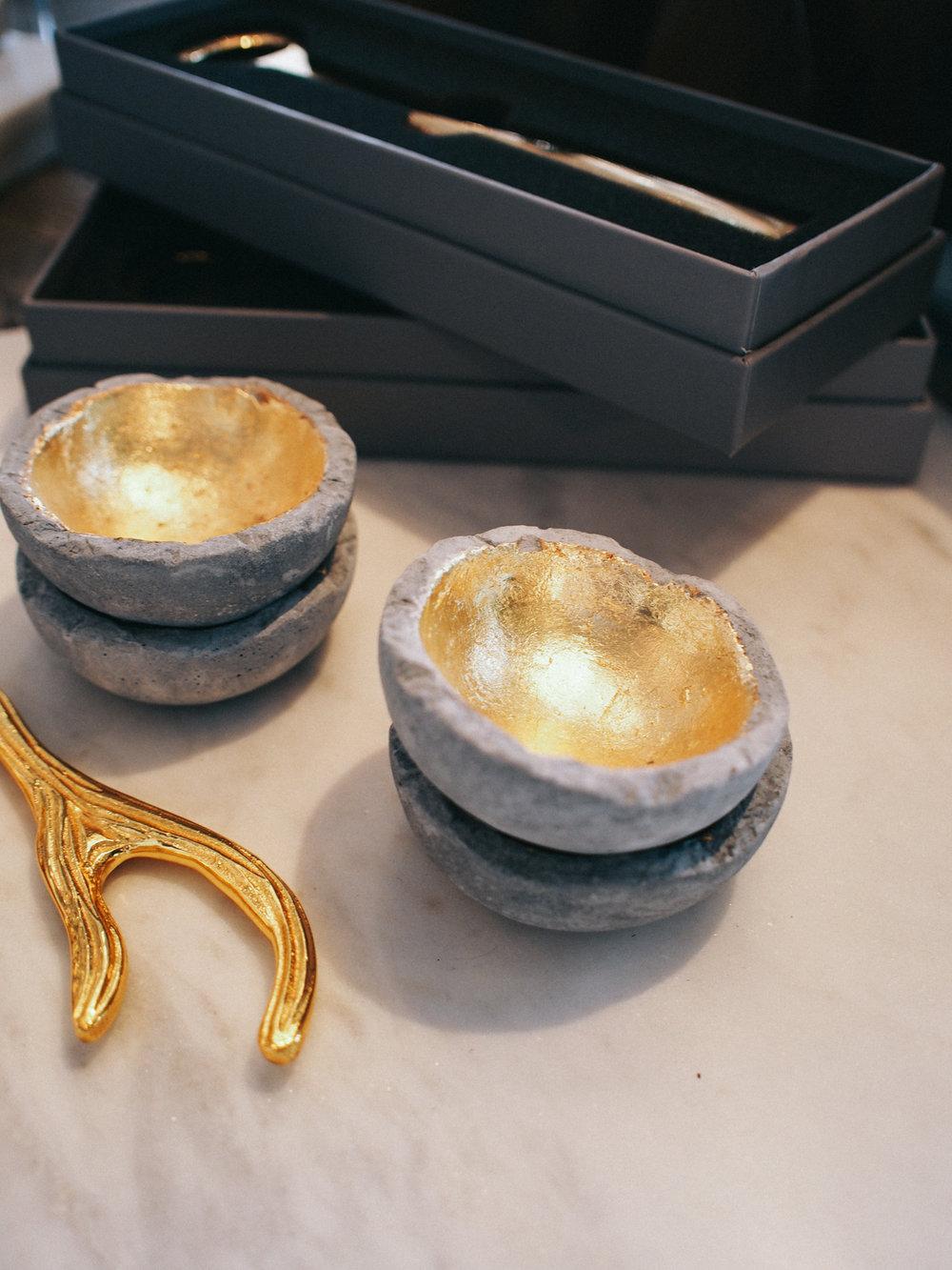 Cement gilded bowls | A Fabulous Fete