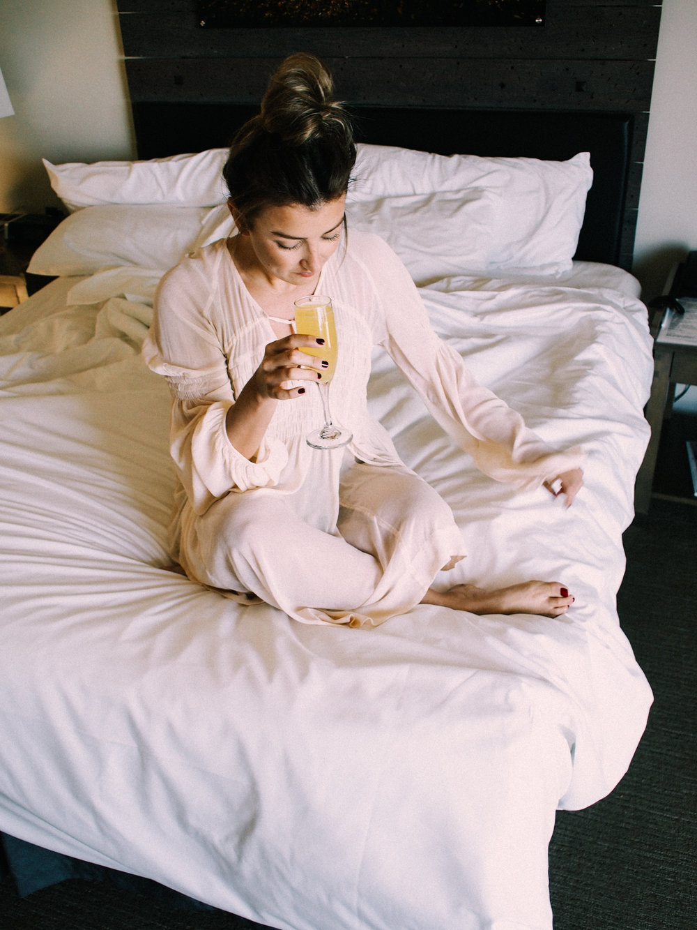 Mimosas in bed, the best part of a staycation! | A Fabulous Fete