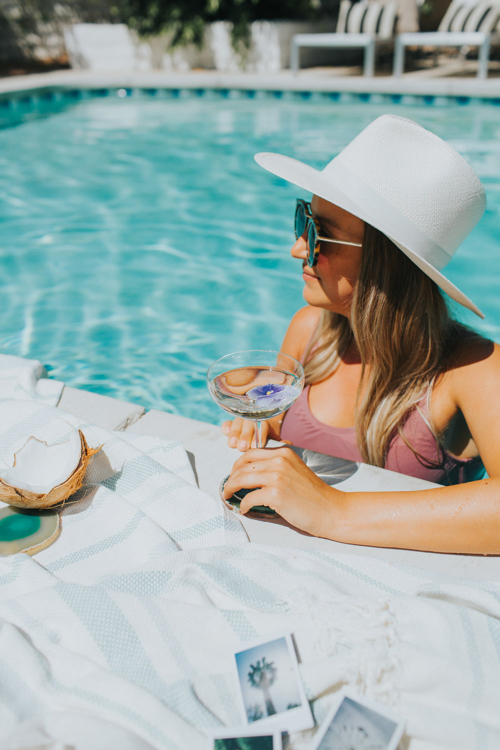 A bikini and oversized hat - perfect for a weekend get together in Palm Springs | A Fabulous Fete