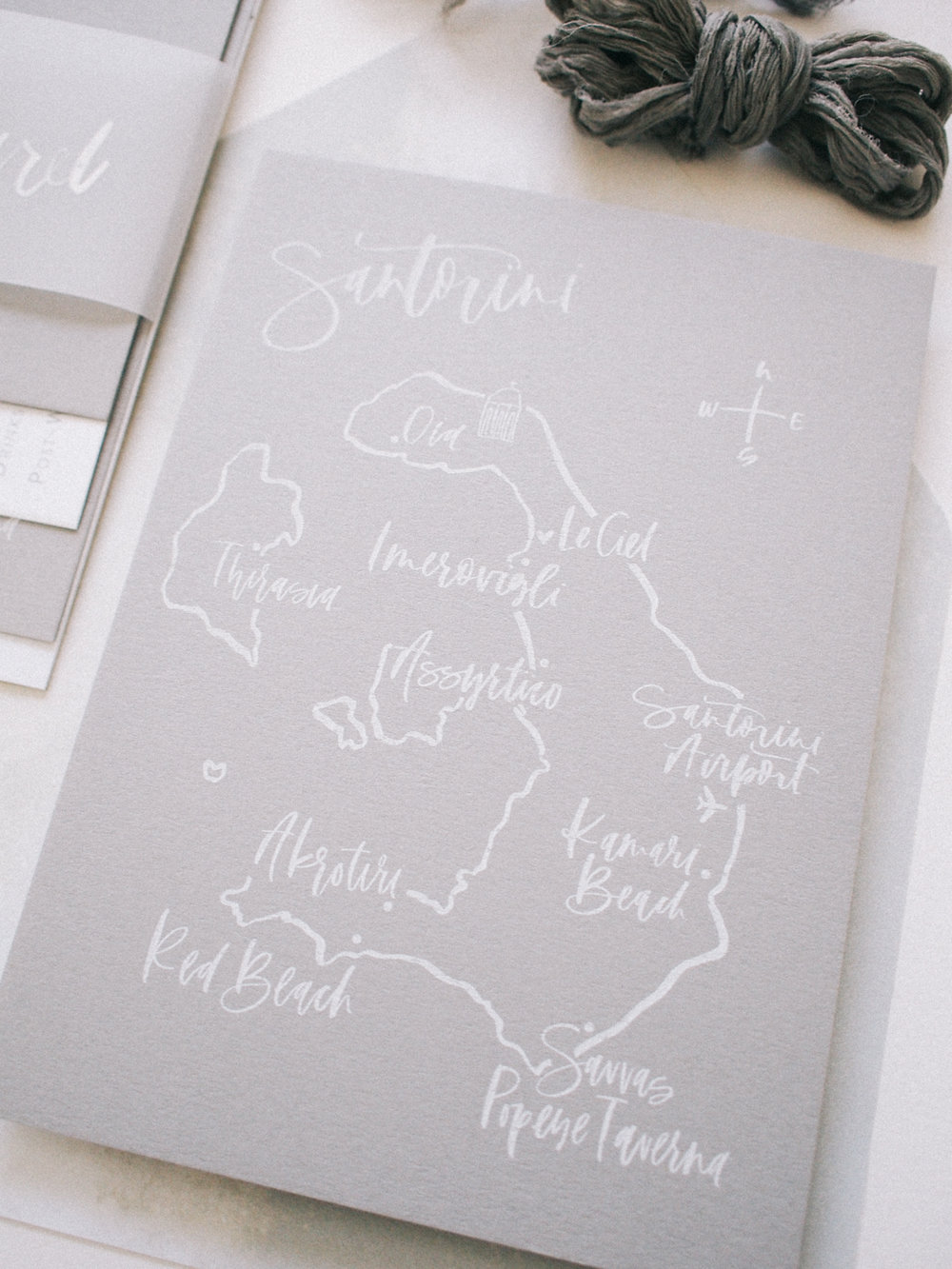 Hand drawn and lettered map of Santorini for a wedding suite | A Fabulous Fete