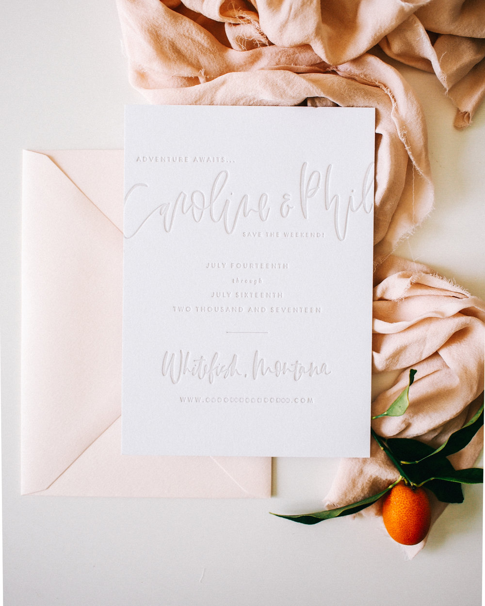 The Caroline - Cream Letterpress Save the Date | Starts at $510