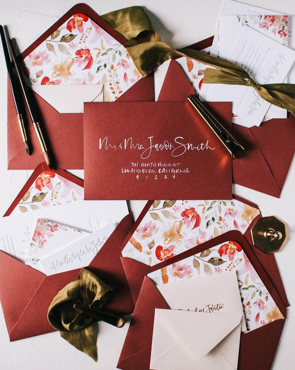 Custom Burgundy and flower watercolor + letterpress invitation suite | A Fabulous Fete