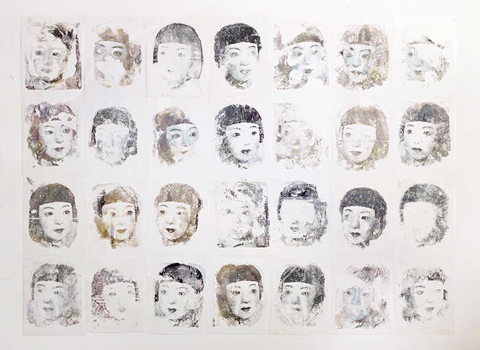 Time in a portrait, 2015  Twenty-eight image transfers on mylar  11 x 8 inches each