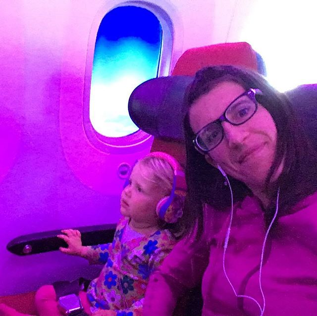 Rocking the Virgin Atlantic flight home from Heathrow to Boston. This almost three year old was allowed to watch as much TV as she could. Only on very special occasions!