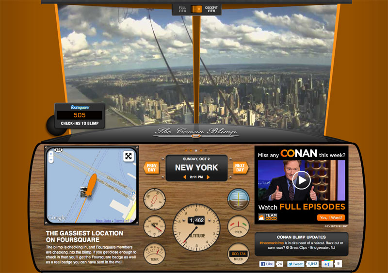 Conan Blimp HTML5 microsite with live updates