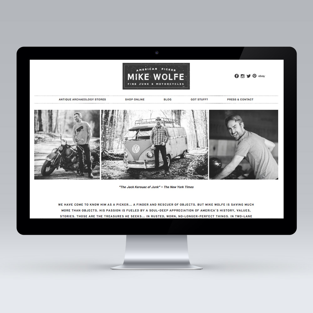 Design, photography, art direction. visit www.mikewolfepicker.com to view full site