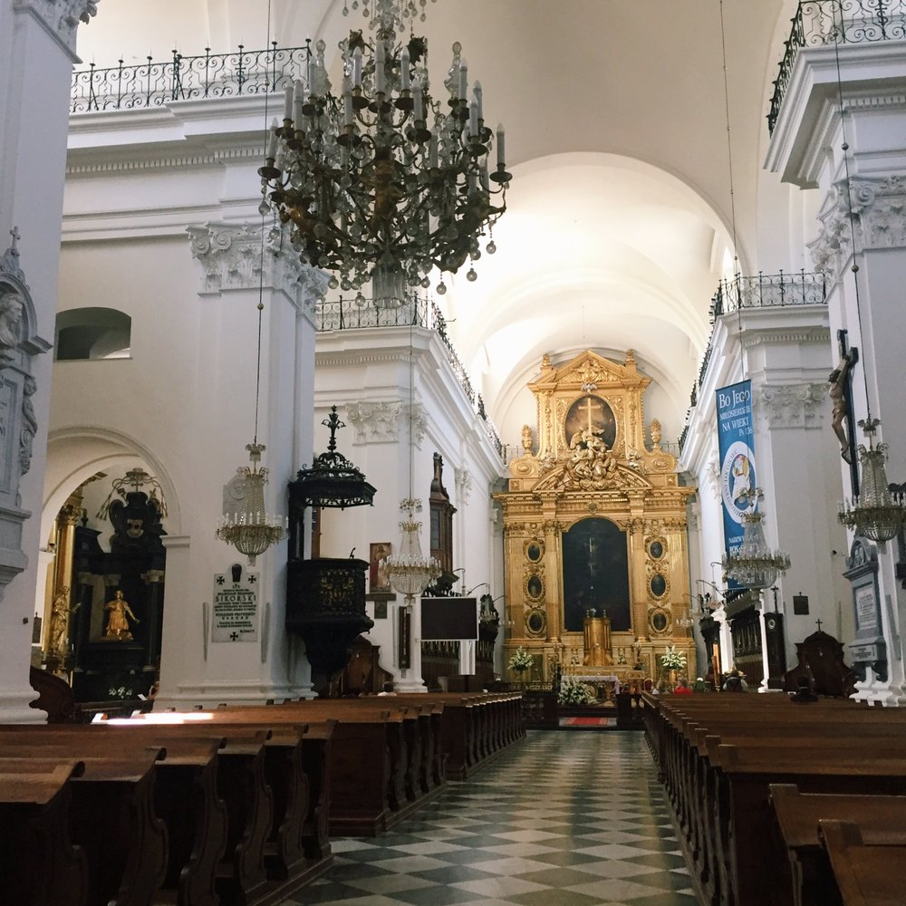 Inside the Swietego Krzysa (Holy Cross) Cathedral