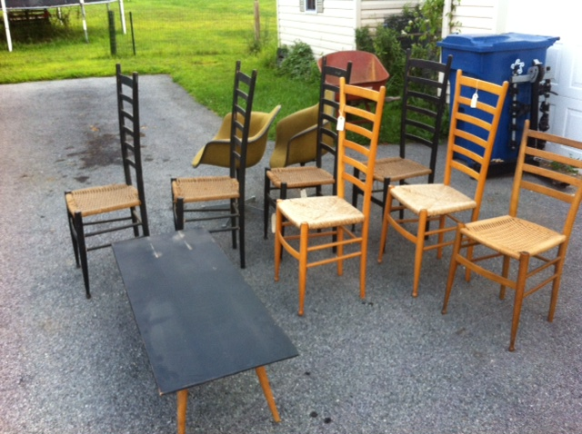 Gio Ponti threw up in my driveway!  The chairs are very cute and the design is exaggerated and cartoony.