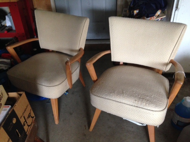 Rare enough to find an upholstered piece of HW...a pair is just HEAVENLY!  The one on the right seems to have been a doggie's friend and has more damage than the other.  Legs need tightening, wood tended to and doggie issues erased, but these are going to clean up fabulous!