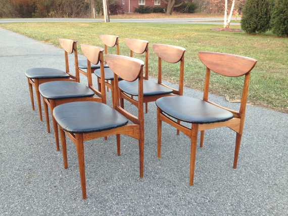 Super 7 piece set of Lane Perception dining chairs restored!