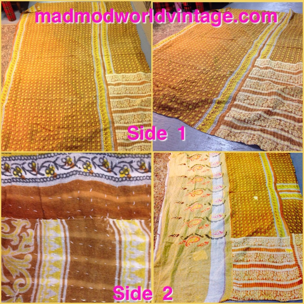 Blanket #2 is more neutral in browns and golds.  The fabrics are interesting.  Great for a Boho look, mixed decor and so much more!