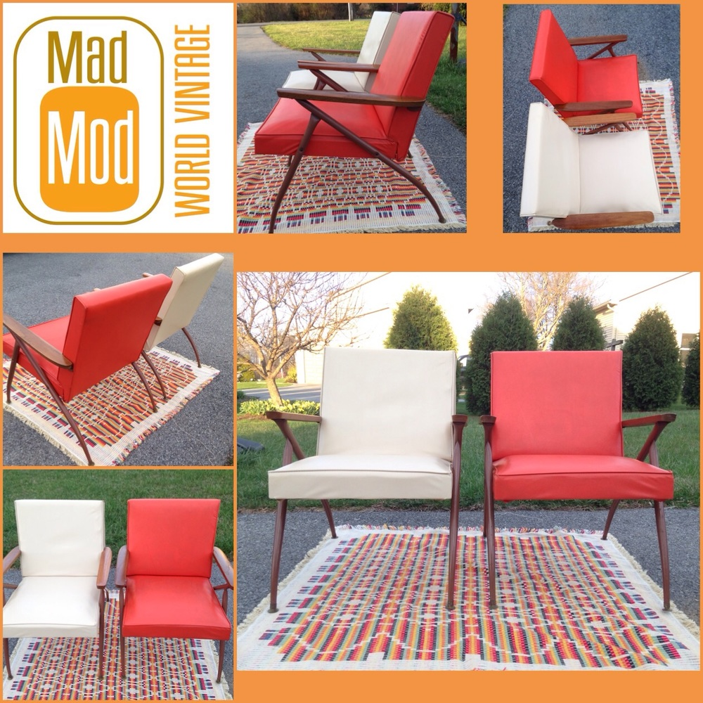 Great pair of matching Viko Baumritter metal framed lounge chairs!  Available each.
