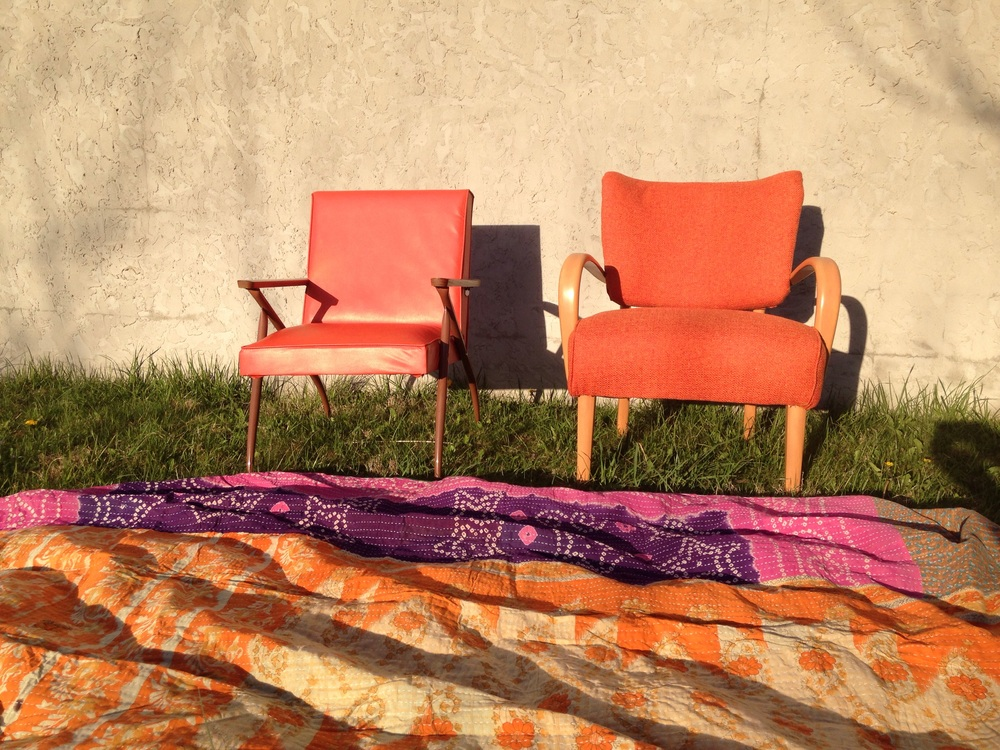 Orange accents.  Reasonably priced Viko Baumritter in Vinyl, Heywood Wakefield in Vibe Sunkissed fully restored and swoon worthy.   Indian Sari quilts in my shop as well!  I have 4 at the antique mall and 2 at home.  Great for music fests, picnics and soccer games.  Twin sized.