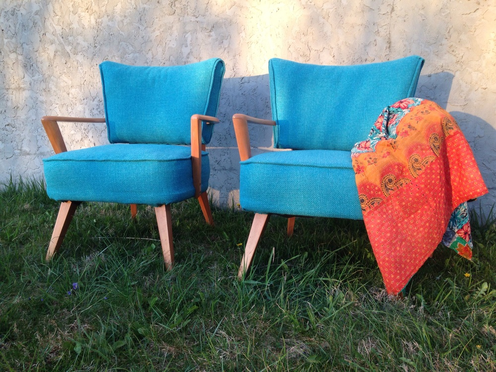 Baby blues.  Would love to keep them together as found but will split them up.  Beautiful new Vibe Aquatic upholstery and restored worn arms to original champagne.  I am a huge Heywood fan and collector.  Much love was put into all 3 chairs and each took about a week of labor to restore.