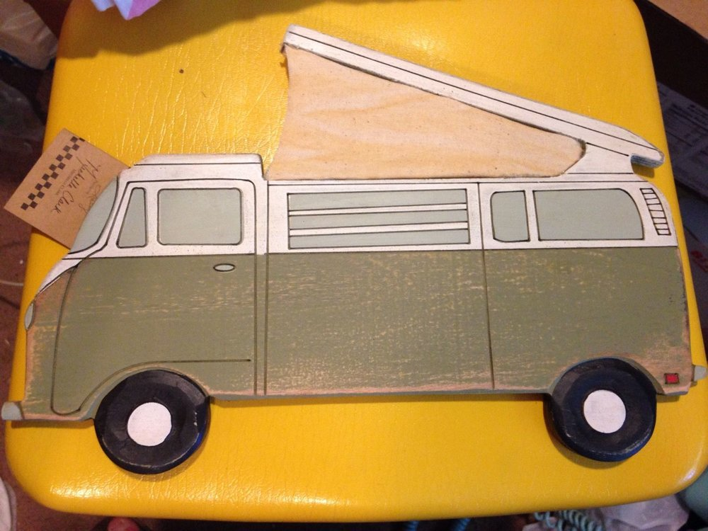 VW Bus painted wood wall plaque