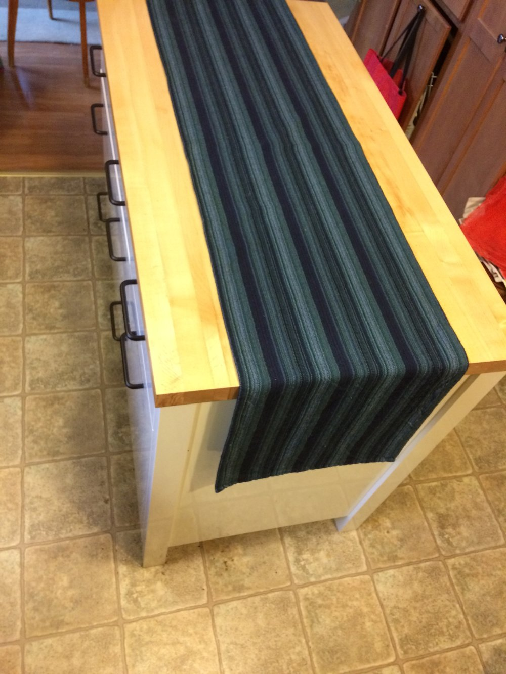 "Long and lean, this stunning ombré stripped pattern is gorgeous!!!! See listing for outside pic that better represents the colors. There are various blues and greens in this piece and it is 70"" long.  Perfect for dining tables and when you need more overhang.  Rolled hem.  Only $20 plus ship!!! https://www.ebay.com/itm/322359750983"