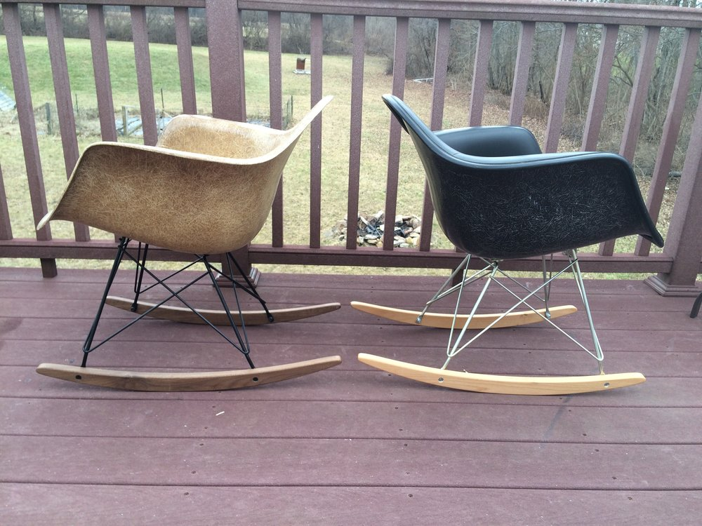 Choice of 2 Herman Miller Eames Shells, better than ever!  Reimagined with reproduction rocker base from Modern Conscience. I will be holding on to one of them so when one sells, I will be pulling the other listing!