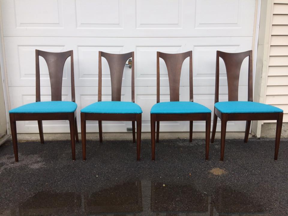 These Broyhill Premier line beauties go with Brasilia, Saga and Sculptra series sets.  Looks great with any dark walnut modern table.  Use your imagination!  Perfect for a formal dining area, they are classy and sleek.  Refreshed finish, new glides, new covers featuring Joybird  fabric in PURE WATER.  This bright aqua brings fun to your space and compliments MCM decor wonderfully! NOW AVAILABLE in the Etsy shop, chairish listing is in process.  I can BUS SHIP this set for $150 or less!  Reach out!