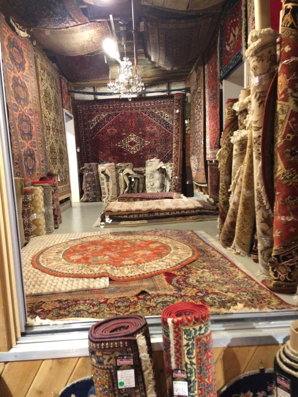 The showroom at Ward's Oriental Rugs in Allentown is full of beautiful hand woven carpets, new and vintage.