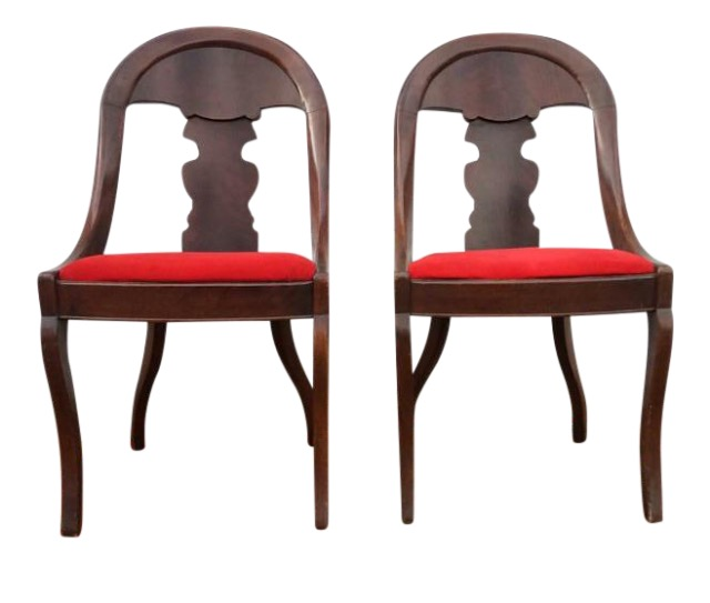This pair of late 1800's Empire side chairs are mahogany and have red velvet covered seats.  That can be swapped out and I would gladly help you with that! Reach out with any requests!