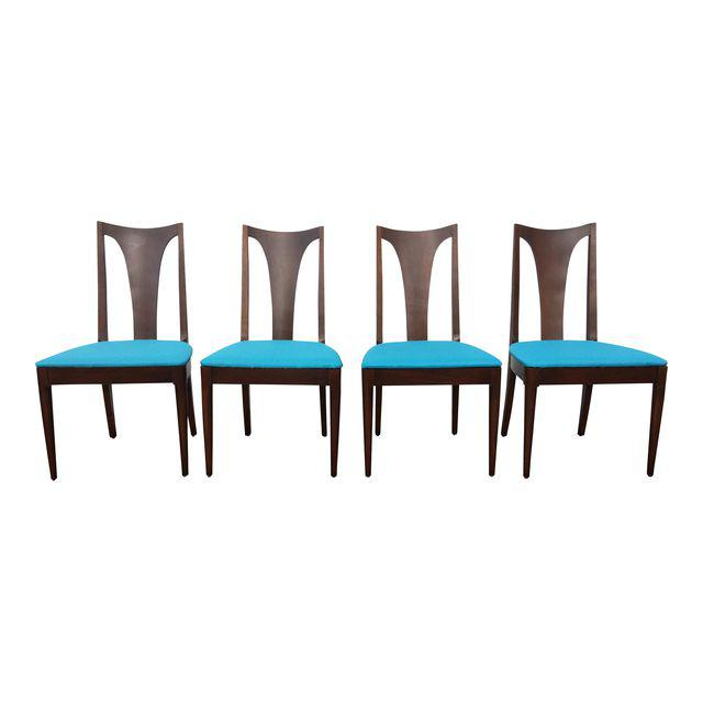 gorgeous set of 4 Broyhill chairs that will go with saga, brasilia or emphasis lines.  They have been refinished and have new seats featuring Joybird PUre water.