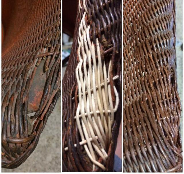 Before the repair, after the weaving and finally with the paint applied.