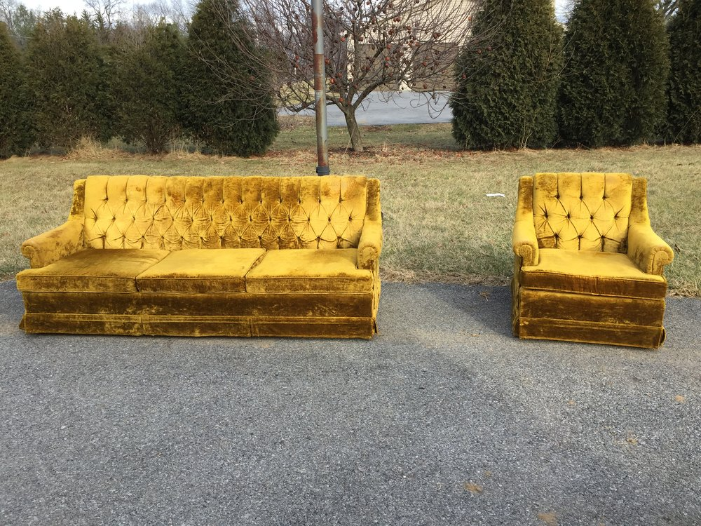 2 couches are now available! This is listed as a set and priced to sell at $500 with delivery or meets in my region included.  They are HOT.  Generally in good shape with some wear on the arms.  Will be cleaned and sanitized prior to delivery.