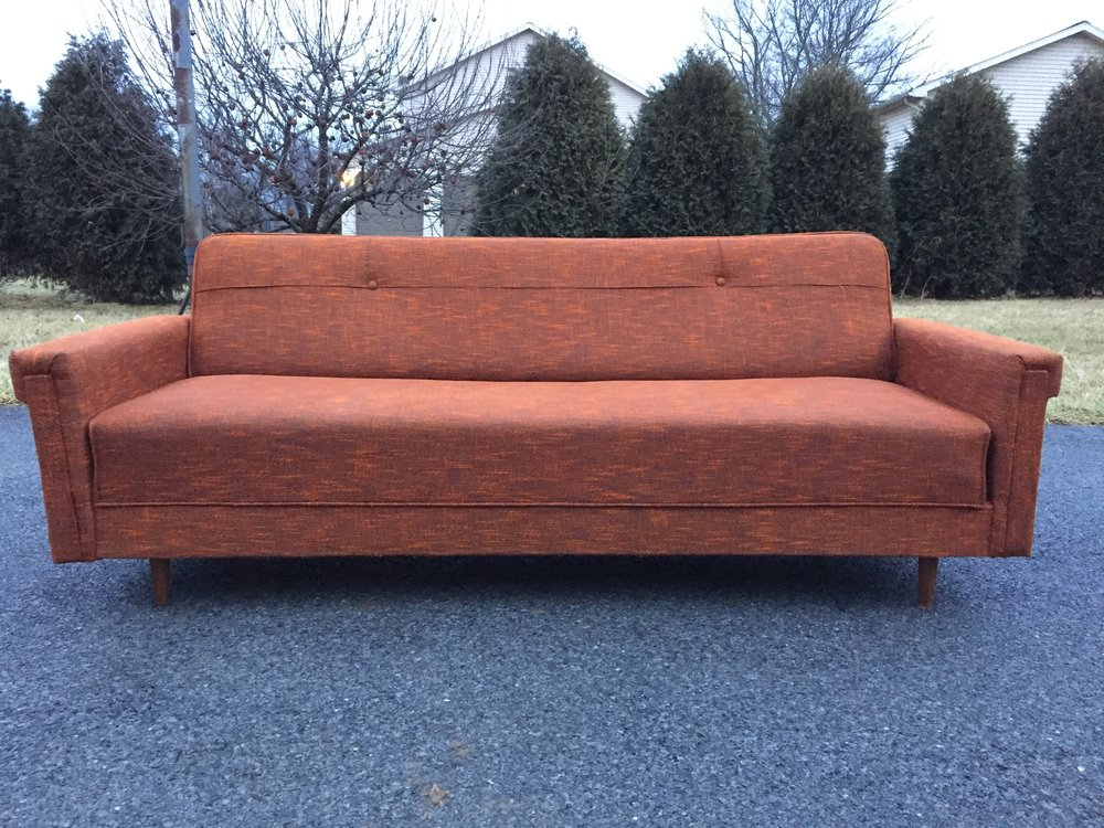 Super sexy convertible couch is available.  Price negotiable for cash/regional shoppers.  Reach out if you are in the market.  It is a great piece!!! Will be cleaned/sanitized prior to delivery.  Super springy supports bounce like an old car seat. Under seat storage and back reclines flat for snoozing.
