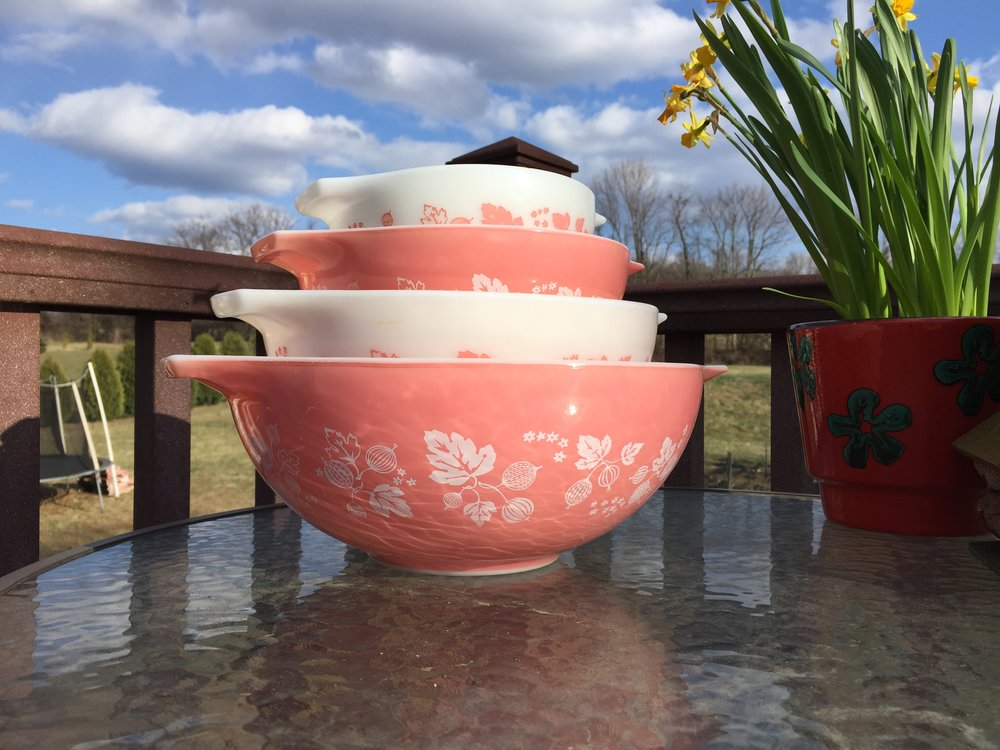 This pink gooseberry Pyrex set is available to reserve for pick up at the May Mid Atlantic Pyrex Swap! If I get no takers there it will be listed in my markets.  Message me for pricing and to reserve!
