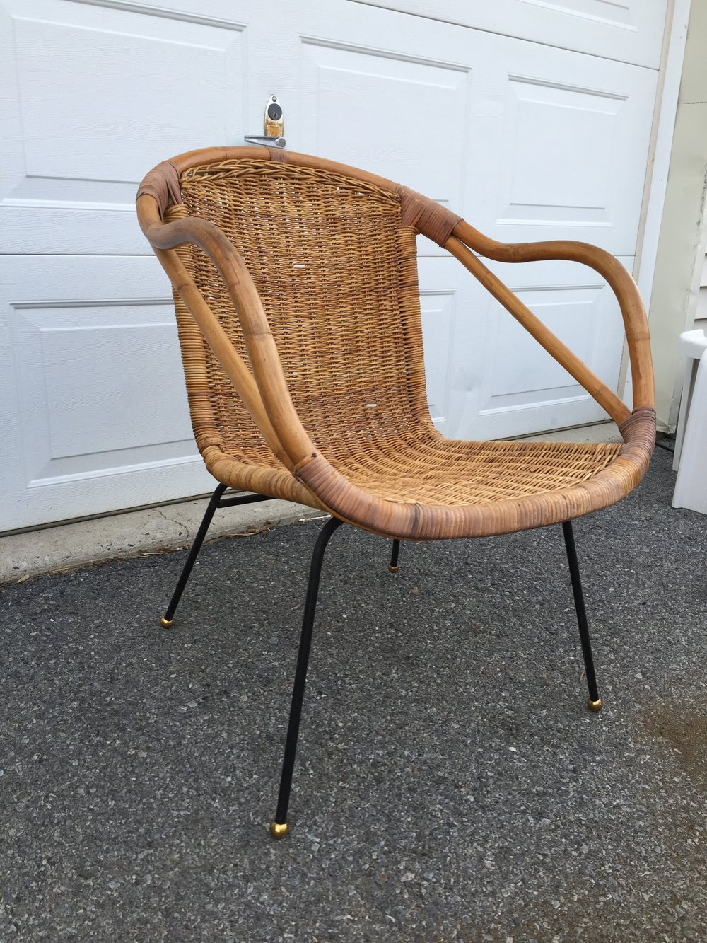 Super hot in boho, Jungalow and eclectic decors, this Calif-Asia bamboo and wicker chair is so cute! In excellent condition! Add a fur or skin, kilim pillow or other accessory and you have a loungy chill space.  Just listed! Milo Baughman actually designed some lines for this company although I do not think this chair was his.