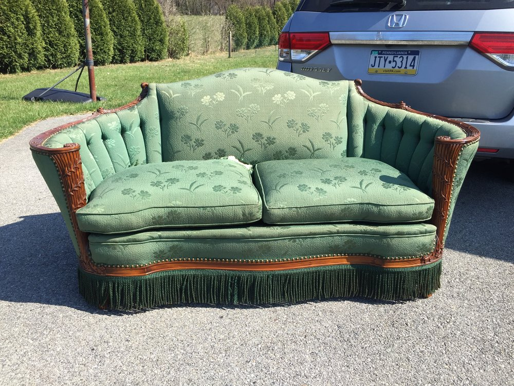 Gorgeous Victorian Settee! This chair is in amazing condition and is superbly made! One cushion needs a patch.  Bad 🐶.  I will assist in repairing that for you.  Some sun fade but otherwise in amazing shape.  A very cool piece for a Victorian home or eclectic decor. I just love the details and look at the fringe!!! Upholstered in Philadelphia. message me for info!