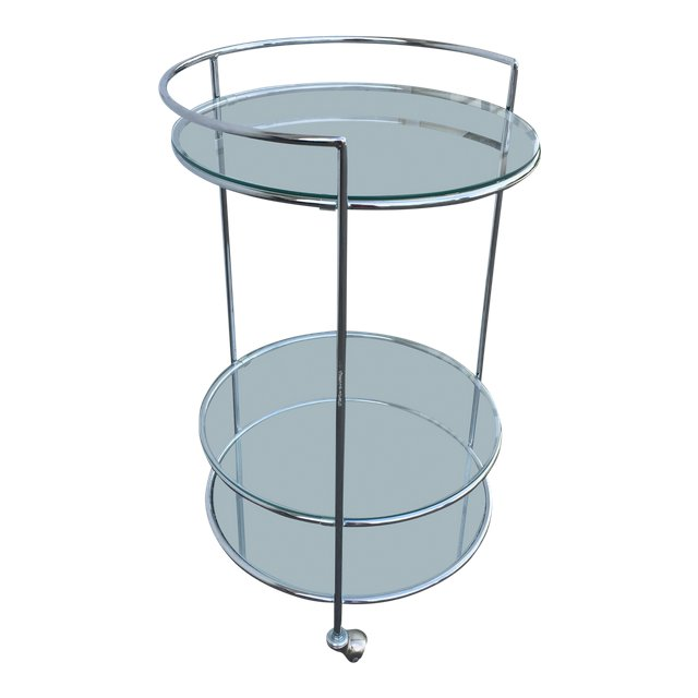 Contemporary Italian chrome bar cart.
