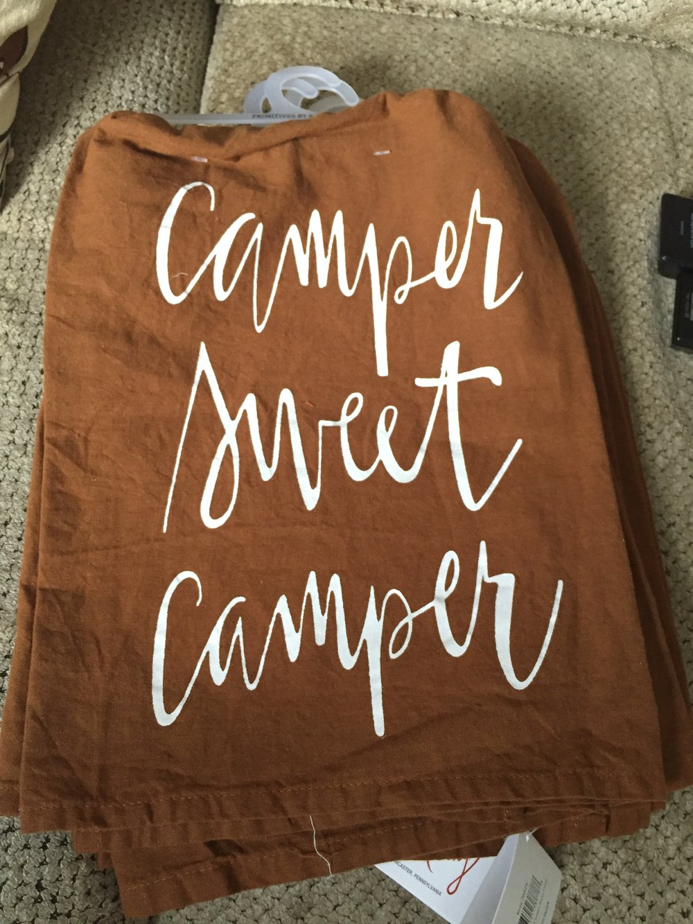 Cotton kitchen towel in brown featuring white printed text.  Perfect for your camper!  These are all new with tags and make great gifts! $12 shipped.