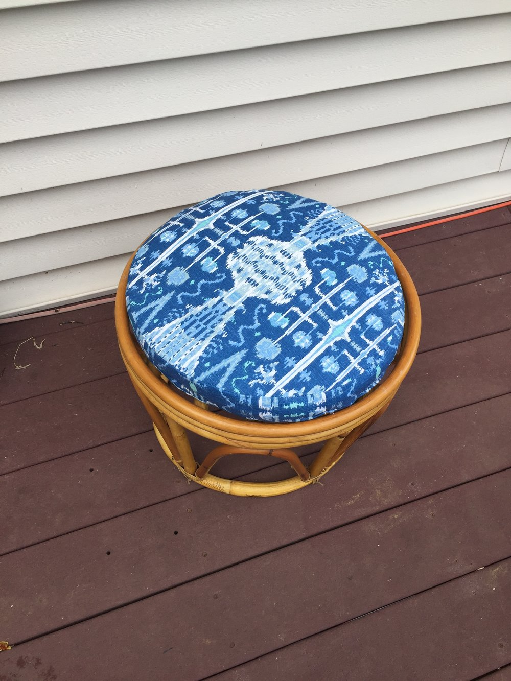 The cushion featured medium grade upholstery fabric in a bright cobalt blue ikat print. Perfect for bohemian and eclectic decors.