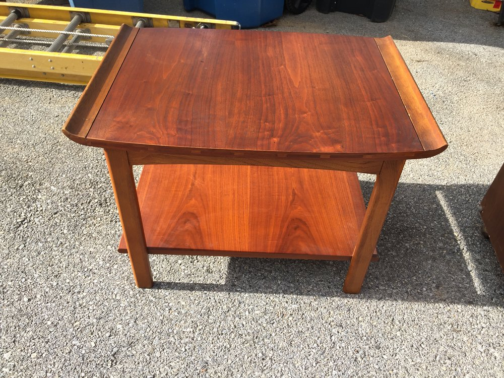 Also New is a gorgeous Lane end table! The wood is so pretty with a warm teak or medium walnut glow.  I have not listed it yet as I am trying to identify what line it goes with. It is stunning!!!!