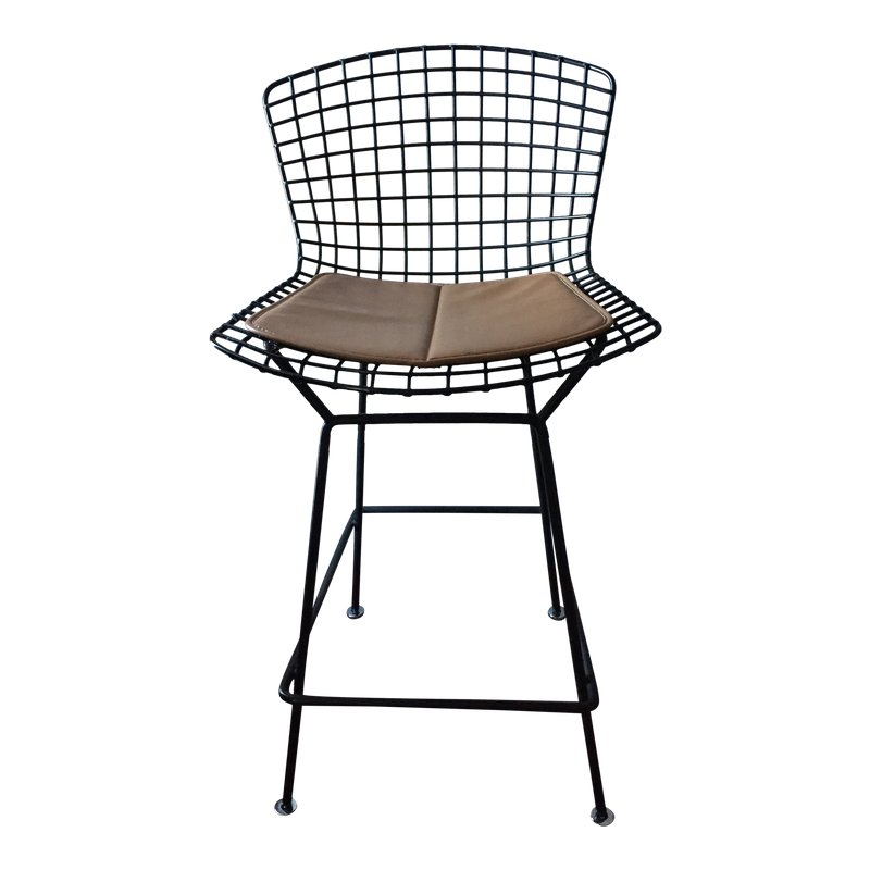 Fantastic Bertoia Barstool by Knoll.  This is early and comes with vinyl seat pad in brown. Very good condition with only one broken weld on left edge.  New floor glides too.  Accept no substitutes! The real deal is built to last. Black Rislan finish.  It's listed on Etsy and chairish.  Bus shipping available or regional delivery.