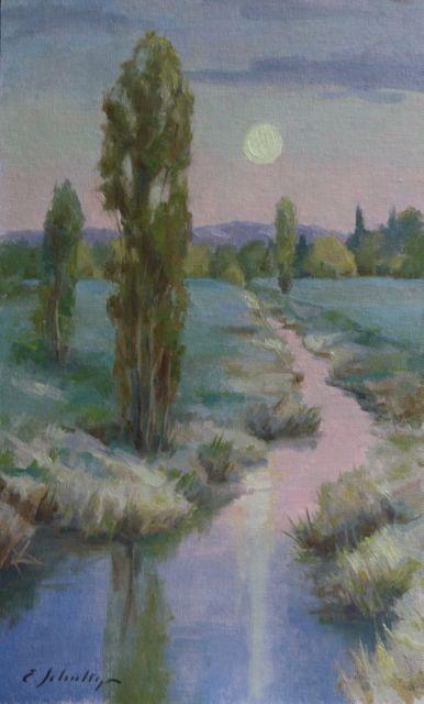 "Hamlin Moonrise 11x18"" $600"