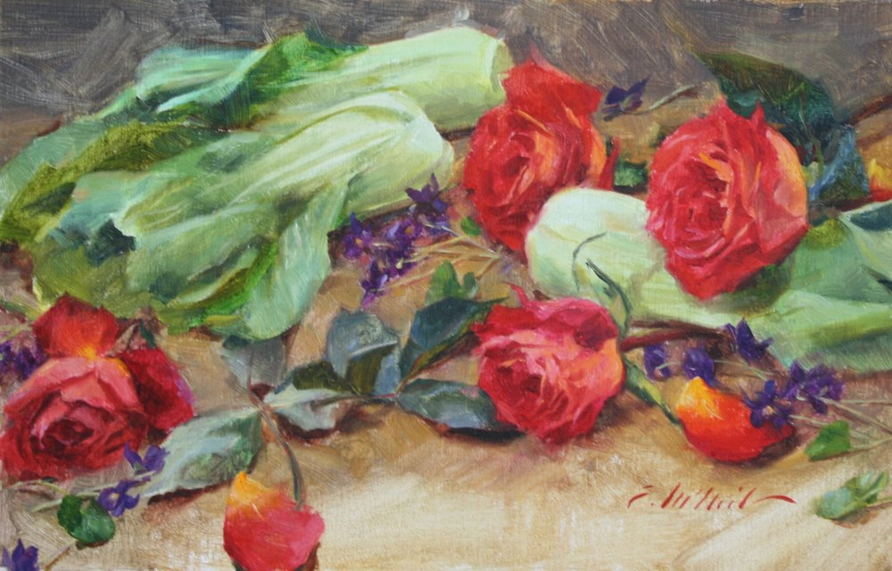 "Roses and Violets and Bok Choy 9x14"" $400"