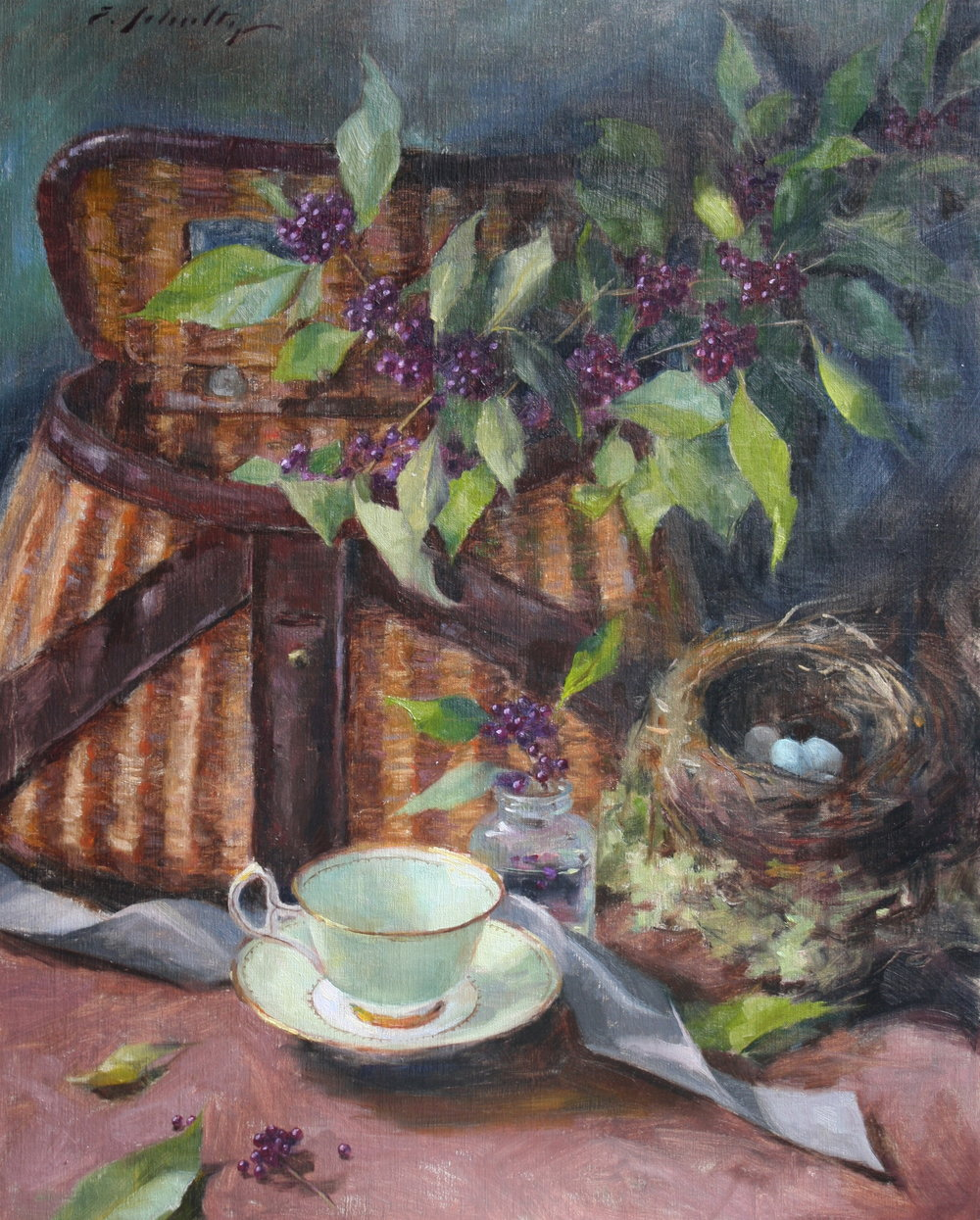 """Creel Basket with Berries"" 16x20 $850"