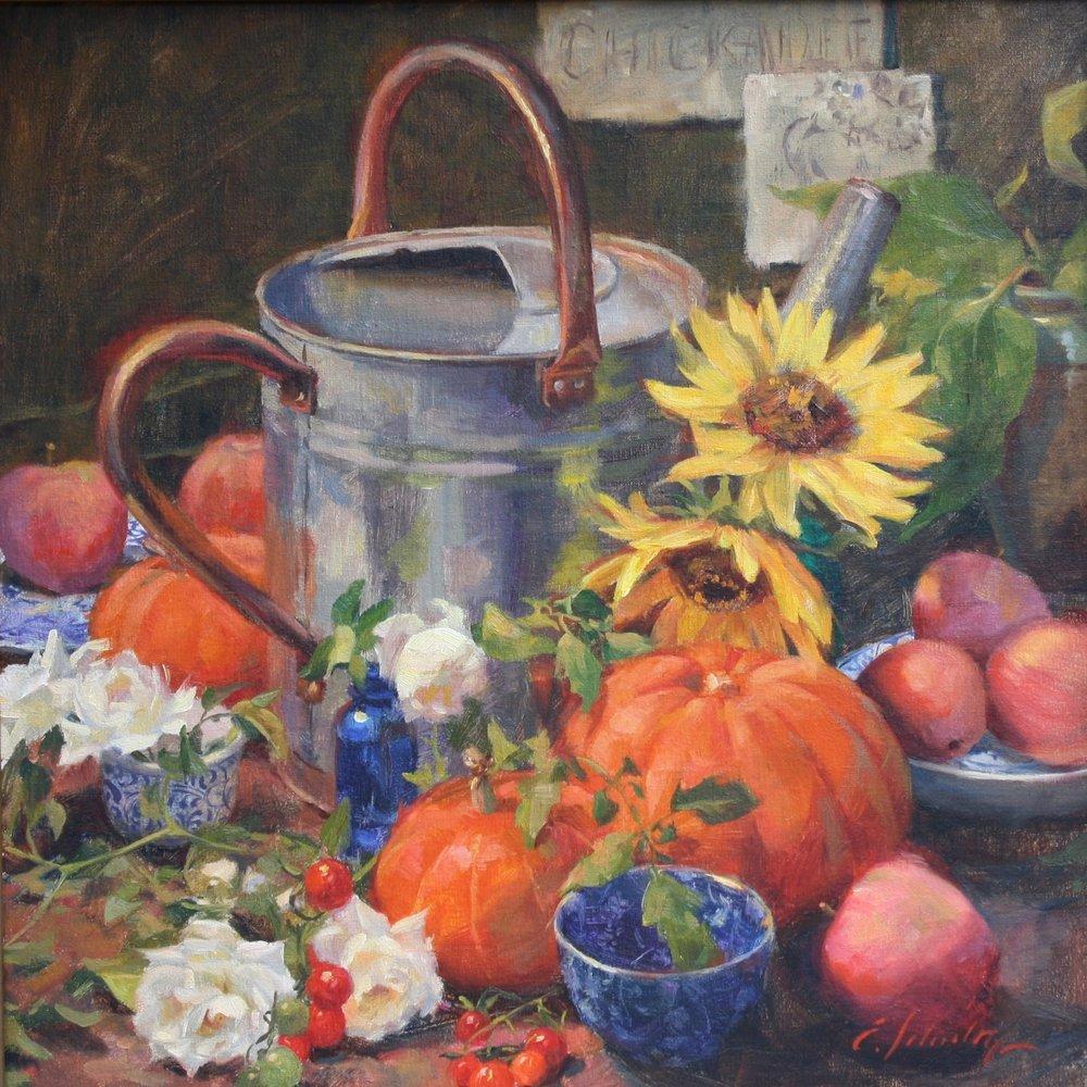 """""""Autumn Garden"""" 16x16 $650"""