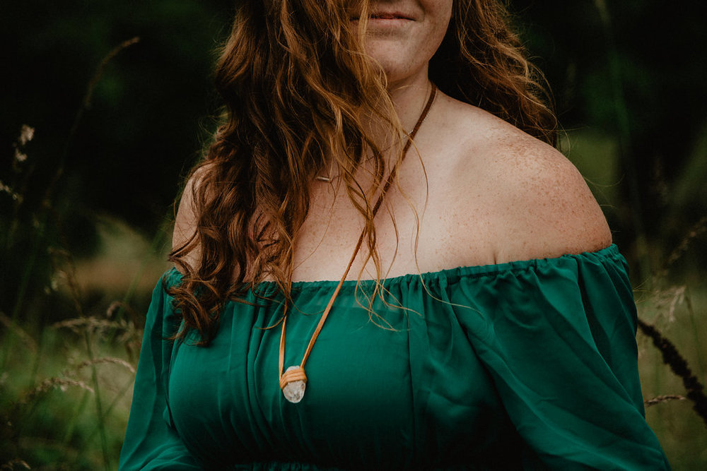 leather and quartz necklace