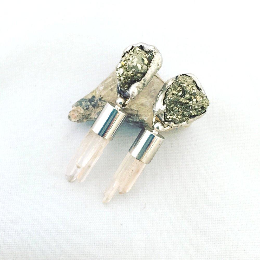 Quartz _ Pyrite earrings.JPG