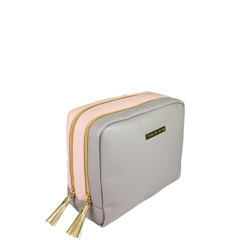 Two Tone Pink/Grey Double Pouch - Code: T-270PG