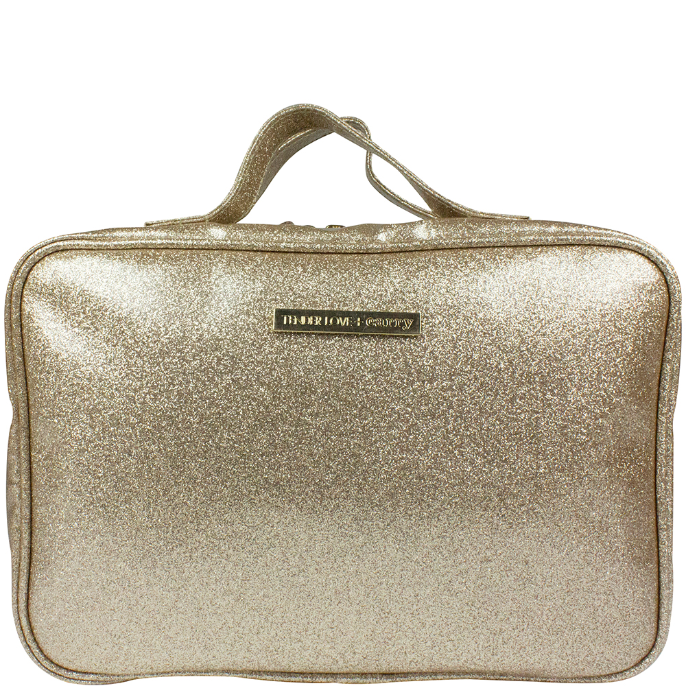 Laminated Glitter Hanging Washbag - Gold - Code: T-160LG