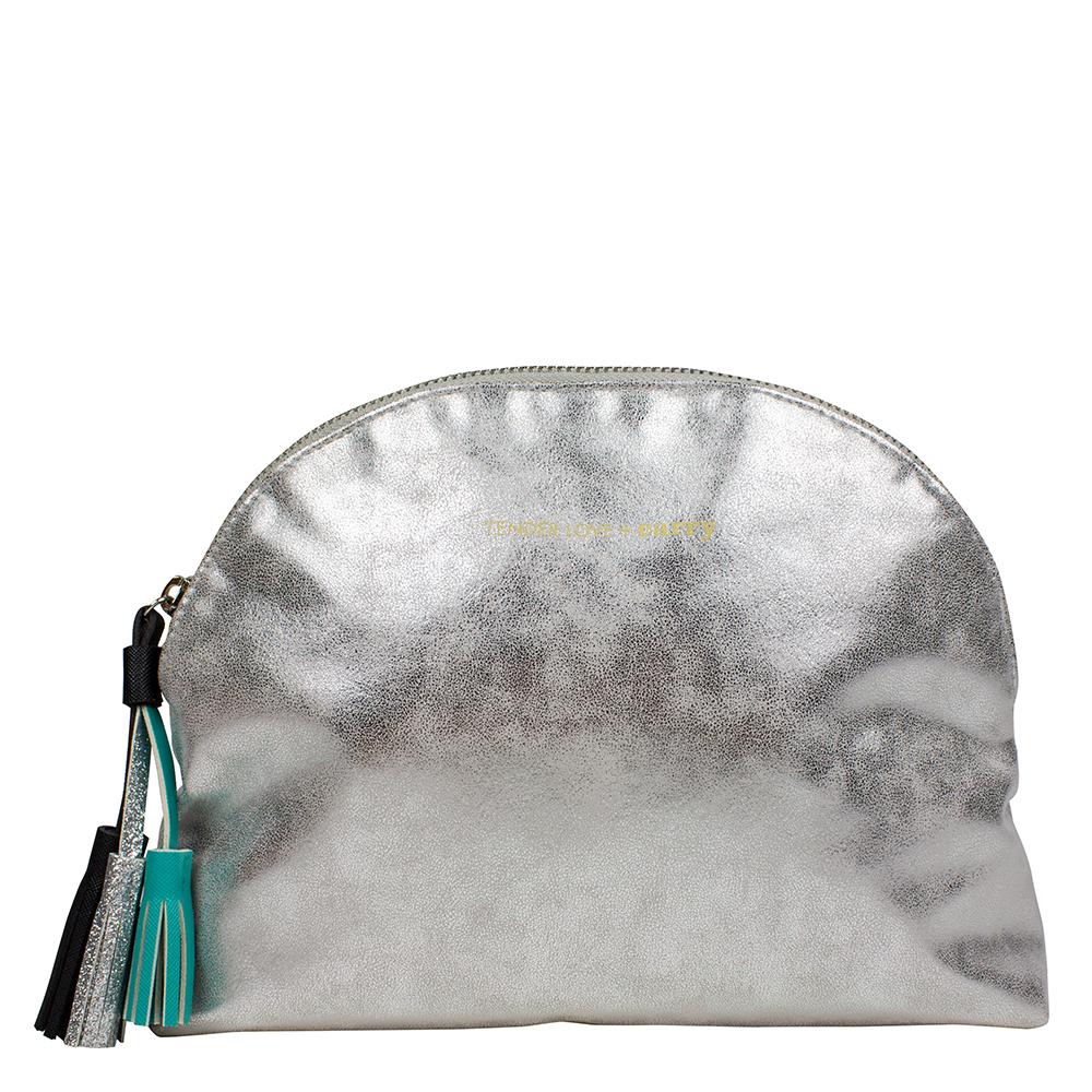 Metallic Silver Tassel Cosmetic Clutch - Code: T-210MST