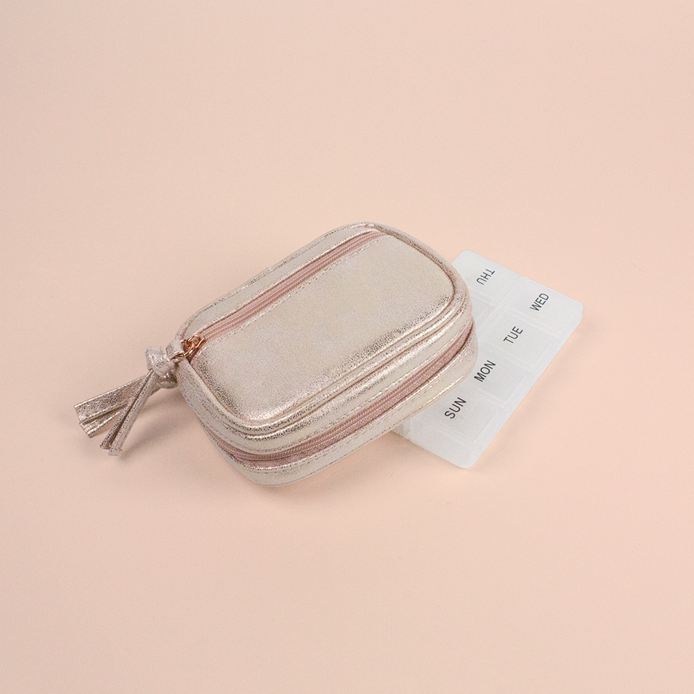 Metallic Suede Pill Pouch - Rose Gold - Code: T-245SUR