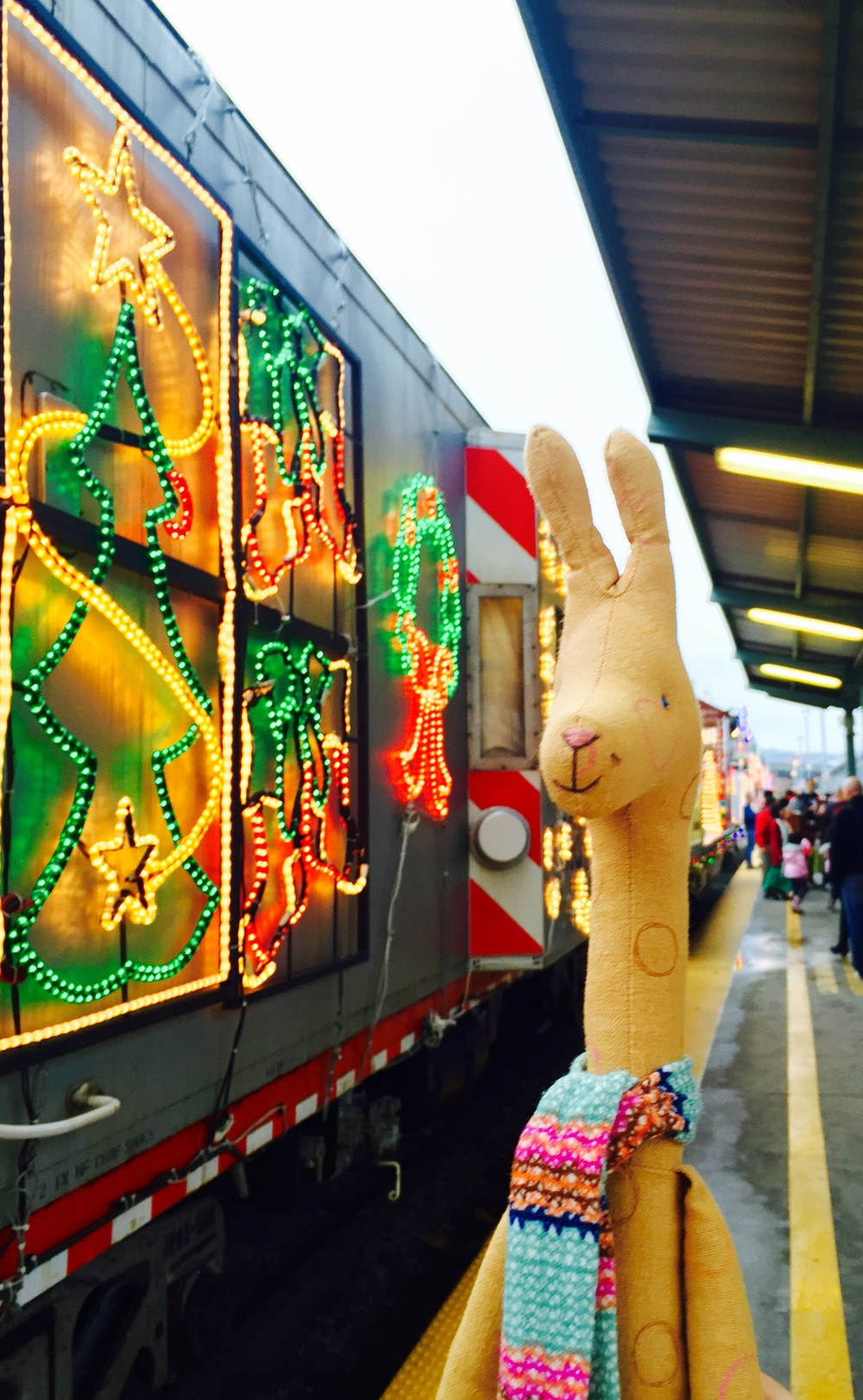 "photo | softiescuties  ""here were no Polar Express to the North Pole, but there was Caltrain holiday train. Close enough for me."" said giraffe."