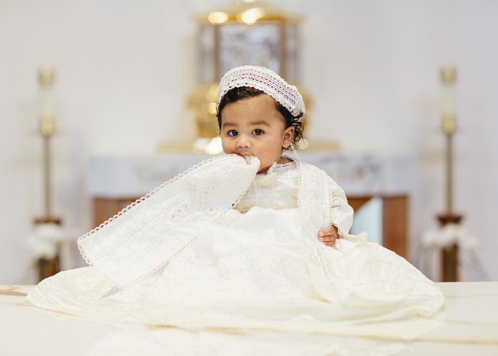 We started off with indoor photographs. Michael was all dressed up in traditional Catholic baptism attire looking cute as could be. I don't prefer indoor portraits but I'm happy with how this first set turned out and we wanted to capture part of the indoor church decor as well.