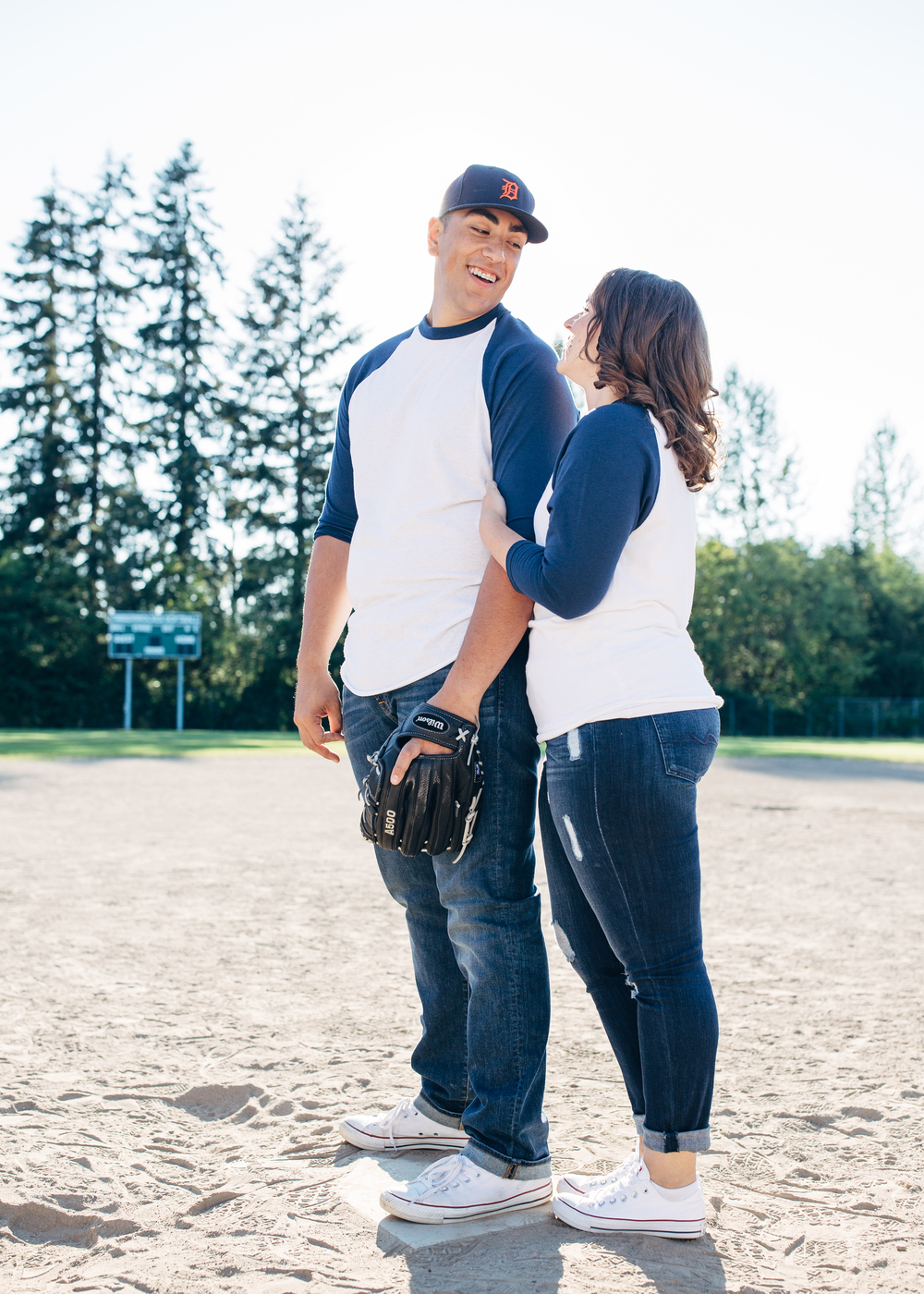 Out final location was a local baseball field. Alec played all throughout high school and has since been drafted so they both wanted to capture their interest and involvement with the sport.